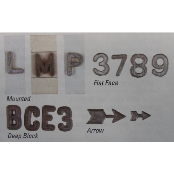 """3/8"""" Flat Faced Unmounted Lead Number Kit """"0-9"""